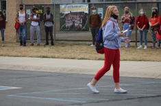 Pictured: Senior Kendal Bettis speaks on the importance of mental health at the walkout.
